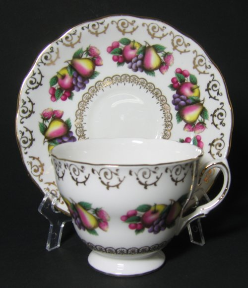 Colclough Fanciful Fruits Tea Cup and Saucer