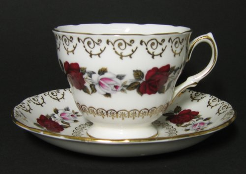 Vintage Colclough Red White Roses Teacup