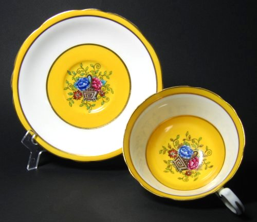 Aynsley Oriental Yellow Tea Cup and Saucer