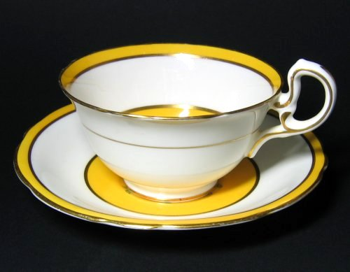 Vintage Aynsley Oriental Deco Mustard Yellow Tea Cup and Saucer