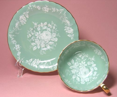 Aynsley Jade Green with White Floral Design