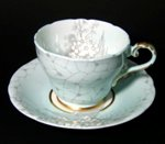 Aynsley Blue Gray Floral Teacup