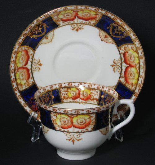 Colclough Imari Cobalt Blue Poppies Tea Cup and Saucer