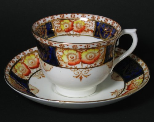 Imari Style Cobalt Blue Poppies Tea Cup and Saucer