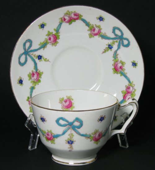 Crown Staffordshire Tea Cup Blue Ribbon Bows