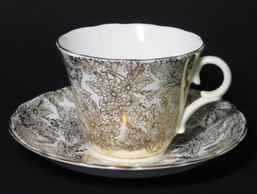 Vintage Colclough White Gilt Tea Cup and Saucer