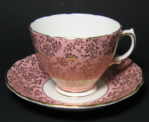 Vintage Colclough Pink Gilt Tea Cup and Saucer