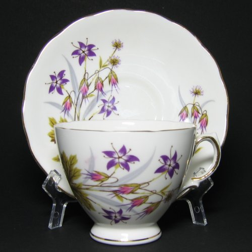 Colclough Tea Cup and Saucer Purple Flowers