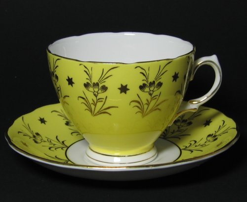 Vintage Colclough Yellow Gilt Tea Cup and Saucer