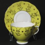 Colcough Yellow Gilt Teacup and Saucer