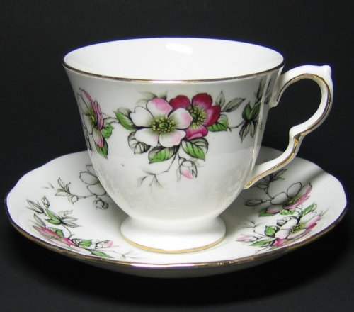 Queen Anne Tea Cup and Saucer Apple Blossom