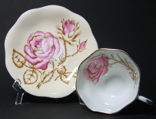 Pink Roses and Branches on Foley Teacup