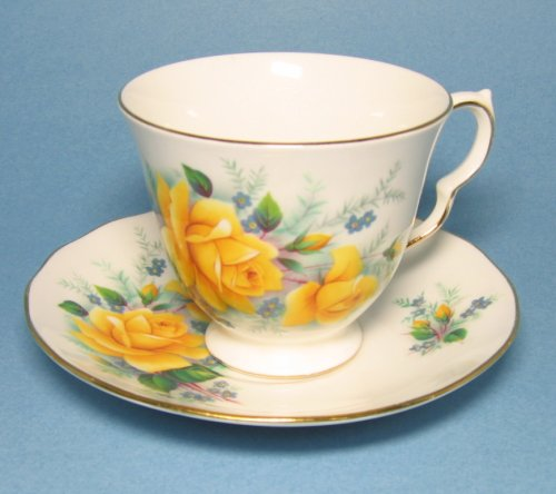 Vintage Queen Anne Bone China Tea Cup Yellow Roses
