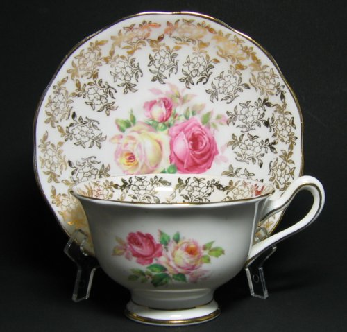 Royal Albert Gilt Floral Tea Cup and Saucer