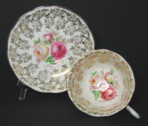 Painted Roses on Teacup and Saucer