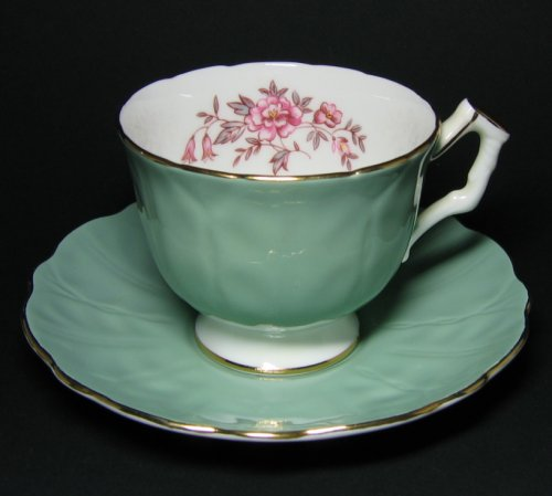Aynsley Jade Green Pink Floral Tea Cup and Saucer