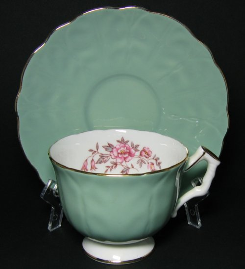 Vintage Aynsley Jade Green Pink Floral Tea Cup and Saucer