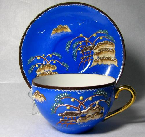 Blue Mud Mountain Japan Teacup and Saucer