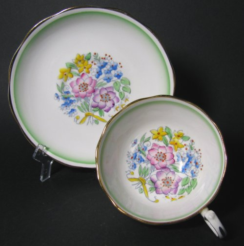 Royal Albert Deco Floral Teacup and Saucer