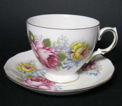 Royal Vale Full Pink Roses Teacup and Saucer