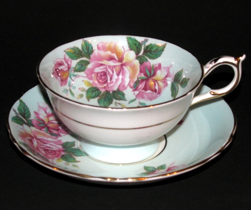 Paragon Pink Roses on Pastel Teacup and Saucer