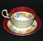 Aynsley Red Border Floral Teacup