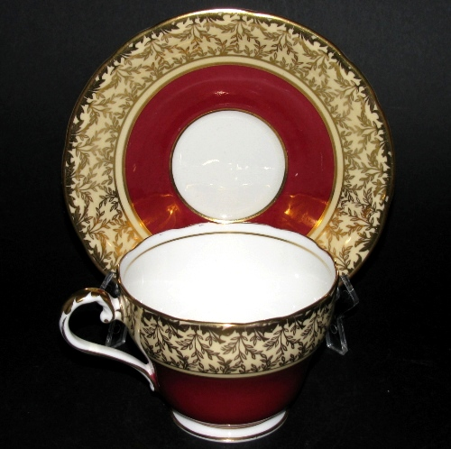 Aynsley Red Gilt Teacup and Saucer