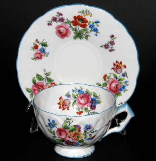 Aynsley Blue Trim Floral Teacup and Saucer