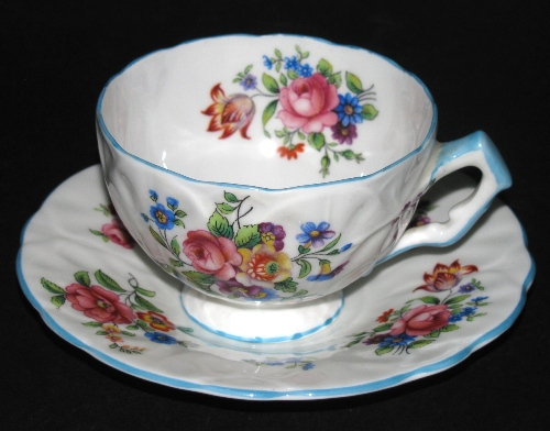 Aynsley Raised Relief Teacup and Saucer