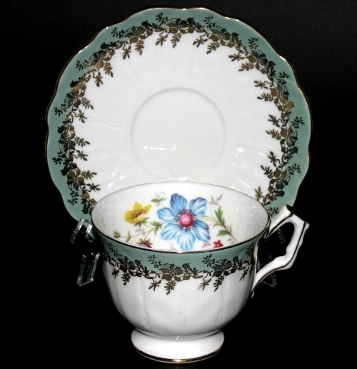 Aynsley Green Trim Floral Teacup and Saucer