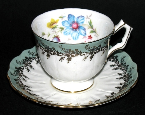 Aynsley Raised Relief  Floral Teacup and Saucer