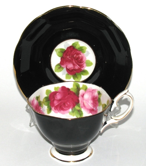 Royal Albert Black Teacup and Saucer with Roses