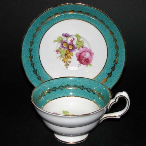 Grosvenor Red Rose Green Trim Teacup and Saucer