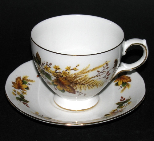ueen Anne Brown Leaves Teacup and Saucer