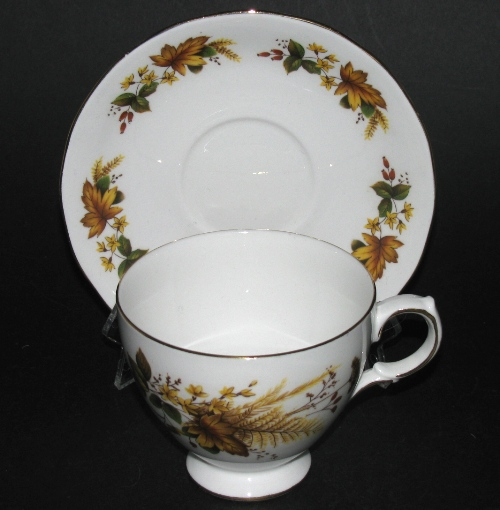 ueen Anne Brown Leaves Teacup