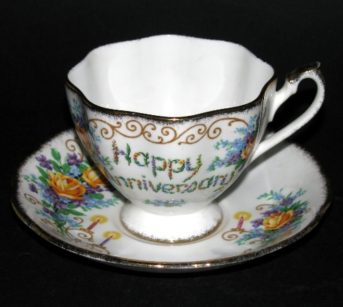 Queen Anne Happy Anniversary Teacup and Saucer