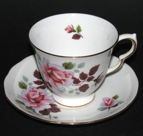 Queen Anne Pink Roses Teacup and Saucer
