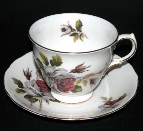 Queen Anne Red White Roses Teacup and Saucer