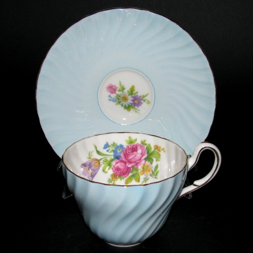 Foley Blue Ridged Floral Teacup and Saucer