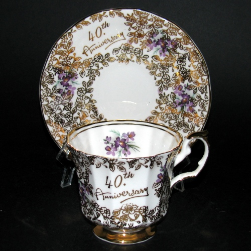 Elizabethan 40th Anniversary Teacup and Saucer
