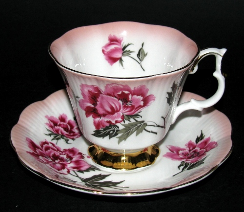 Royal Albert Pink Red Floral Teacup and Saucer