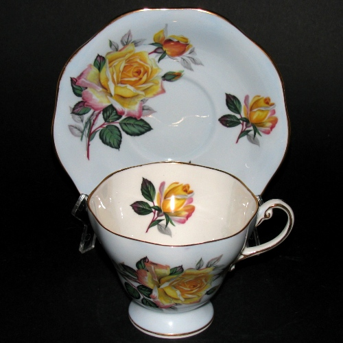 oley Yellow Roses Blue Teacup and Saucer
