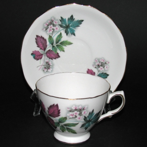 Queen Anne Colorful Leaves Teacup and Saucer