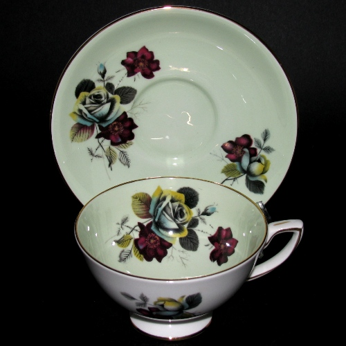 Royal Stafford Green Floral Teacup and Saucer