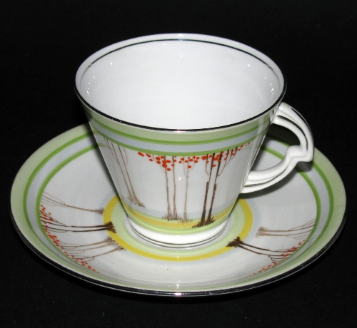 Standard China Art Deco Trees Teacup and Saucer