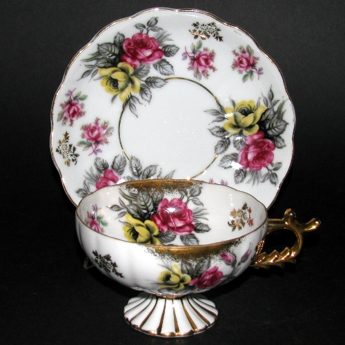 Japan Castle Aristocrat Pedestal Teacup and Saucer