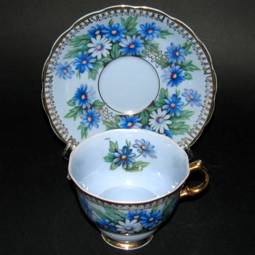 Japan Castle Gilt Blue Floral Teacup and Saucer