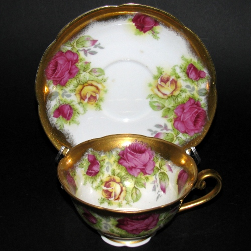 Occupied Japan Gold Gilt Roses Teacup and Saucer