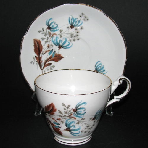 Regency Blue Brown Floral Teacup and Saucer