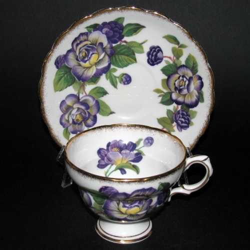 Rosina Purple Flowers Teacup and Saucer